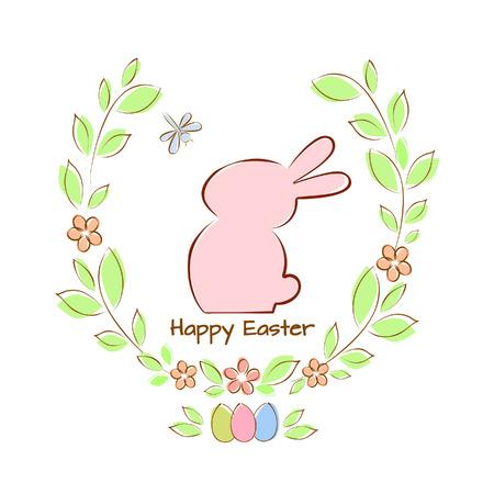 Vector illustration card with Easter bunny and moth Ilustração