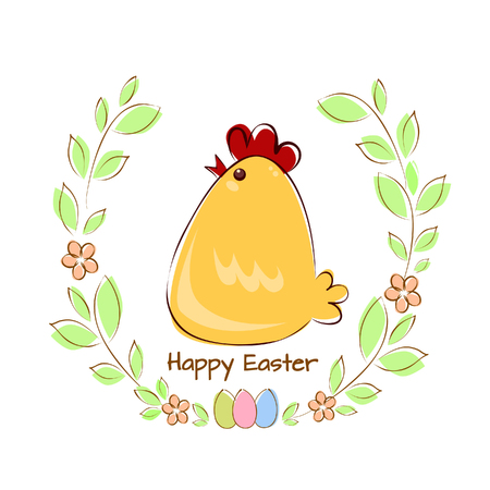 Vector illustration of a greeting card chicken with Easter eggs in a frame of twigs with leaves and flowers