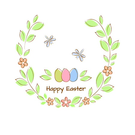 Vector illustration of Happy Easter card, with Easter eggs, moths in green twigs with leaves and flowers. Ilustração