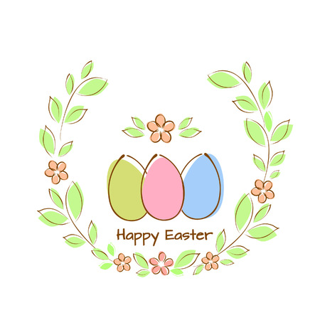 Vector illustration of greeting card with colorful Easter eggs in a frame of twigs with leaves and flowers