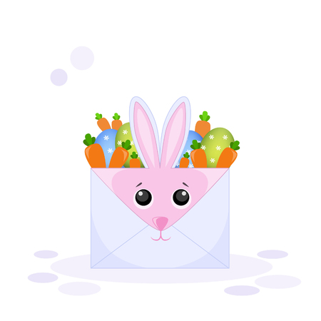 Vector illustration of an envelope rabbit with Easter eggs and a carrot Ilustração