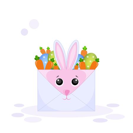 Vector illustration of an envelope rabbit with Easter eggs and a carrot Illusztráció