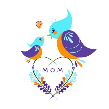 Vector illustration of birds on a branch for mothers day   Illusztráció
