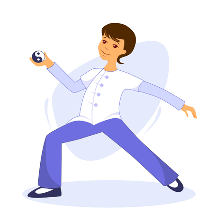 Vector illustration guy performs tai chi and qigong exercises with tai chi ball Ilustração