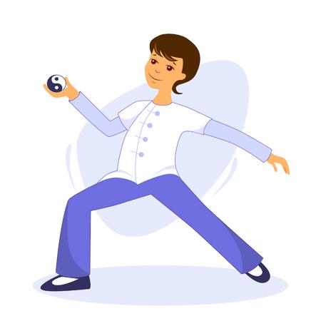 Vector illustration guy performs tai chi and qigong exercises with tai chi ball Illusztráció
