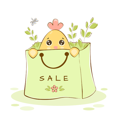 Vector illustration of chicken in the package with flowers at spring sale Ilustração