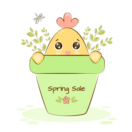 Vector illustration of a chicken on spring sale in a flower pot with green sprigs and dragonfly