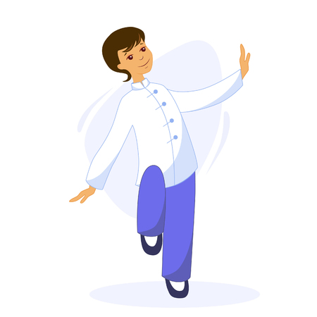 Vector illustration of a young man performs Thai Chi and Qigong exercises