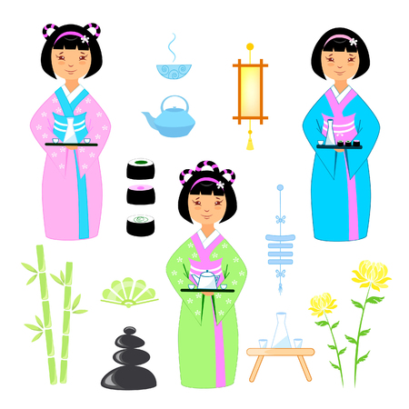 Vector illustration set of asian girls in kimano