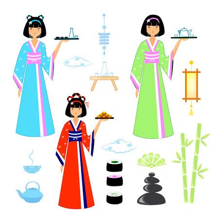 Vector illustration set of an asian girl in kimano with treats Ilustração