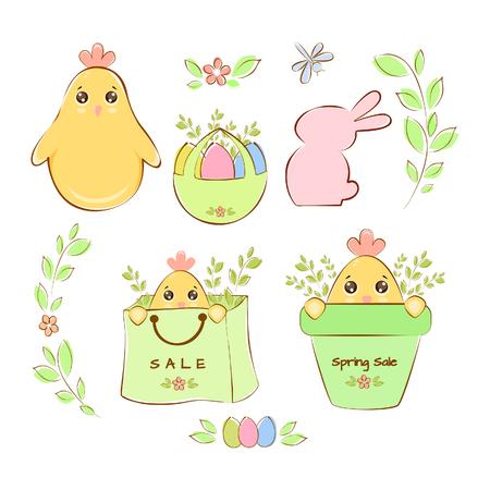 Vector illustration spring sale, a set of elements Ilustração
