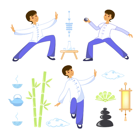 Vector illustration set of elite elements tai chi and qigong
