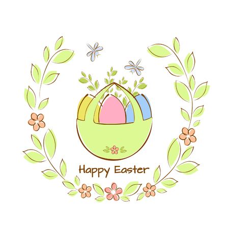 Vector illustration of a basket with Easter eggs in a frame of green twigs with flowers