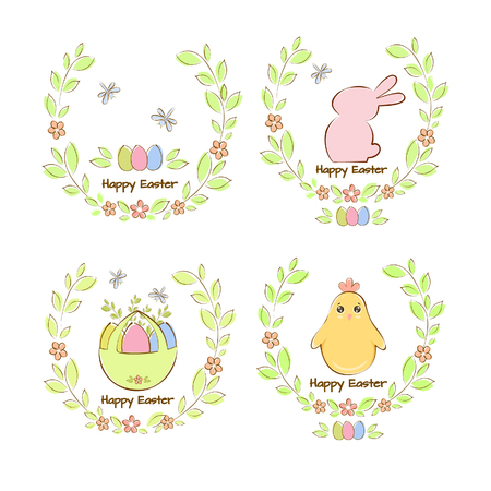 Vector illustration Easter set, Easter bunny, chicken, eggs