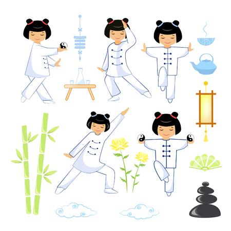 Vector illustration set of qigong and tai chi elements