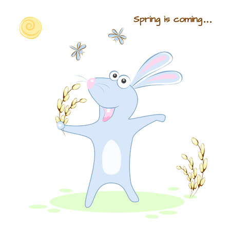 Vector illustration of a rabbit rejoices in spring