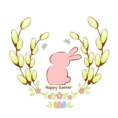 Vector illustration card with Easter bunny and moth Illusztráció
