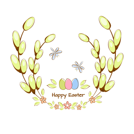 Vector illustration of Happy Easter card, with Easter eggs, moths in twigs with leaves and flowers