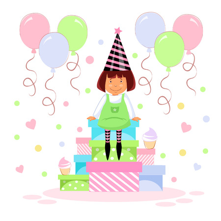 Vector illustration of a girls birthday sitting on boxes with gifts