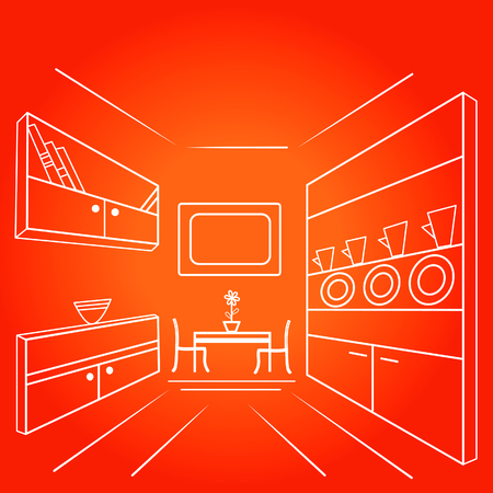 Vector illustration of a living room with furniture in a linear style in perspective