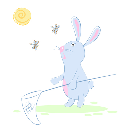 Vector illustration of a rabbit on a sunny day with a butterfly net for catching moths