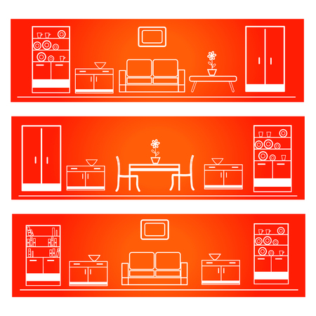 Vector illustration of a set of furnished rooms in linear style