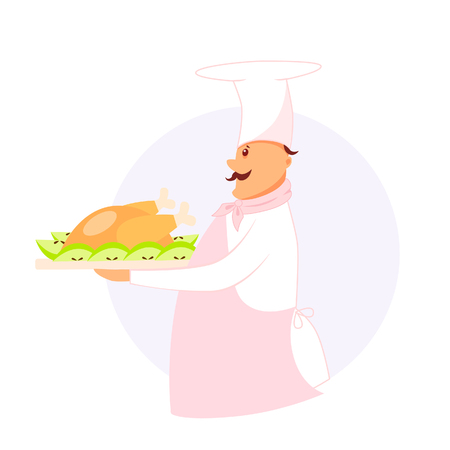 Illustration of a cook with a dish baked chicken