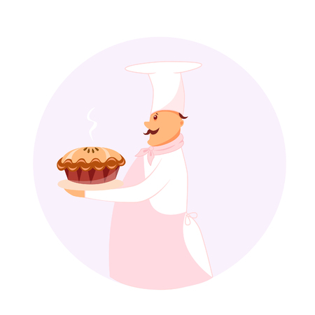 Vector illustration of a cook with pie