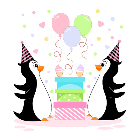 A vector illustration of a pair of penguins with birthday gifts in festive caps with balloons