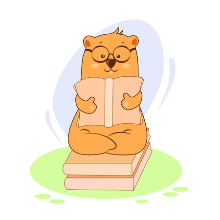 Vector illustration of a bear with glasses reading a book
