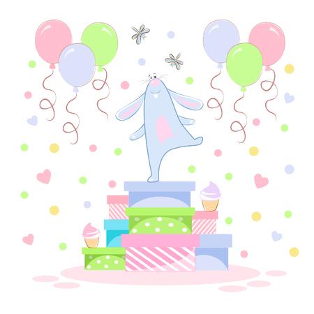 Vector illustration of a birthday bunny rabbit on gifts
