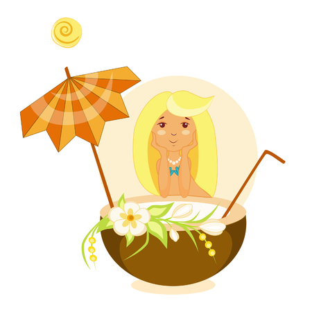 Vector illustration of a girl in a swimsuit on the beach under an umbrella with a koitil coconut milk
