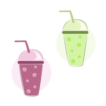 Vector illustration of fruit smoothies in plastic glasses with tubules