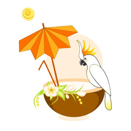 Vector illustration of coconut cocktail and parrot in hot summer on the beach under an umbrella Illusztráció