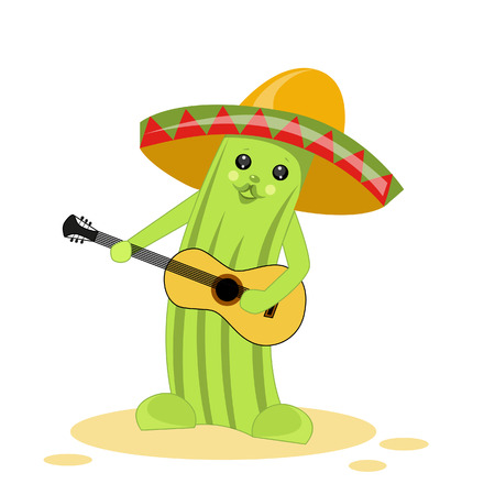 Vector illustration of a cactus with a guitar in a sombrero