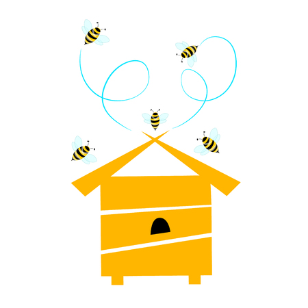 Vector illustration of a yellow beehive with bees