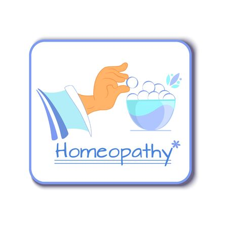 Vector illustration of homeopathy, hand puts homeopathic granule in the bowl with homeopathic preparations Ilustração