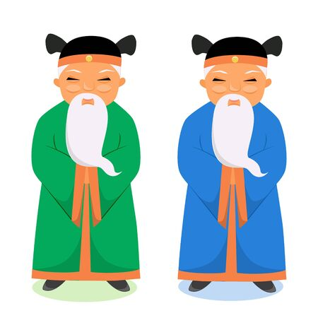 Vector illustration of a pair of Chinese elbows, wise men doctors
