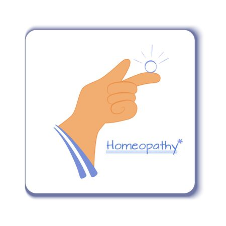 Vector illustration of a hand with homeopathic granule