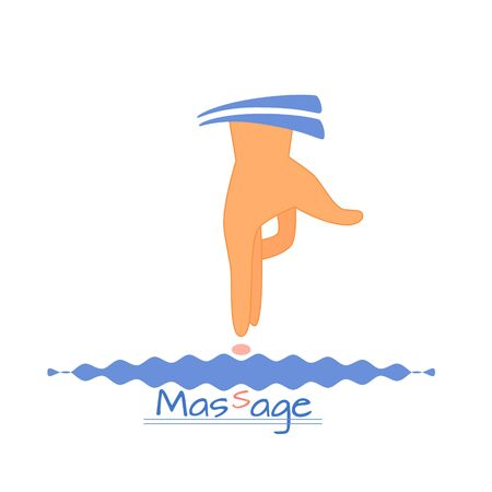 Vector illustration of manual therapy, hand doing massage.