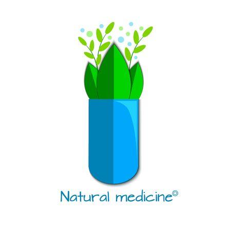Vector illustration of open herbal capsule Ilustração
