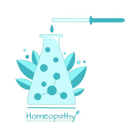 Vector illustration alternative medetsina homeopathy, a vessel with homeopathic drops and pipette