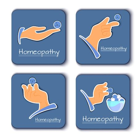 A vetorny set of alternative medicine icons homeopathy. Hands with homeopathic granules