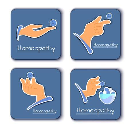 A vetorny set of alternative medicine icons homeopathy. Hands with homeopathic granules Ilustração