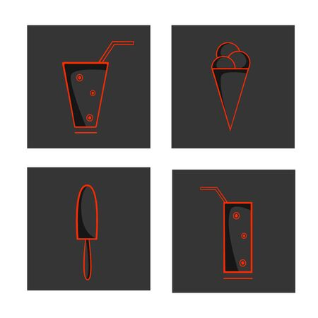 Vector set of linear icons of ice cream, smoothies, drinks and cocktails