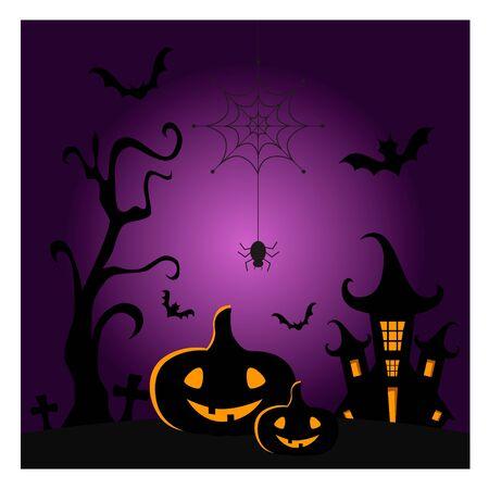 Vector illustration of halloween holiday night