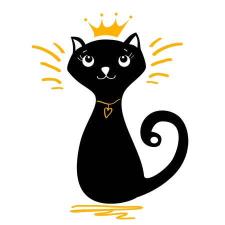 Vector illustration of a black cat with a crown on his head and with a necklace on his neck