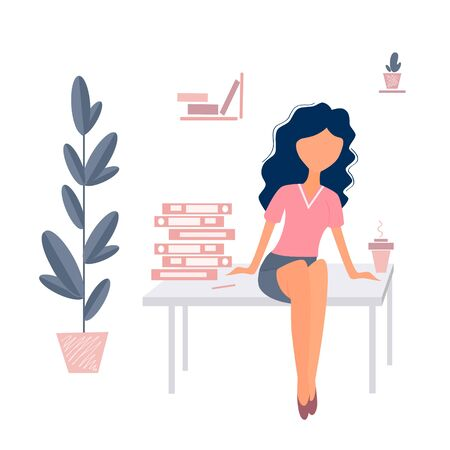 Vector illustration of coffee break office worker. Girl in the office with coffee