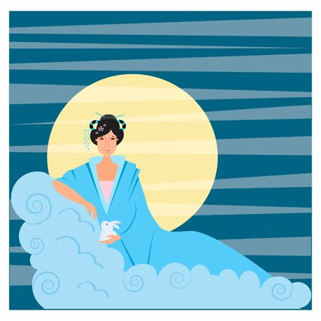Vector illustration of a moon goddess in mid autumn festival with a moon rabbit