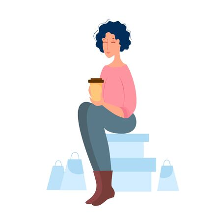 Vector illustration of a woman resting and drinking coffee after shopping